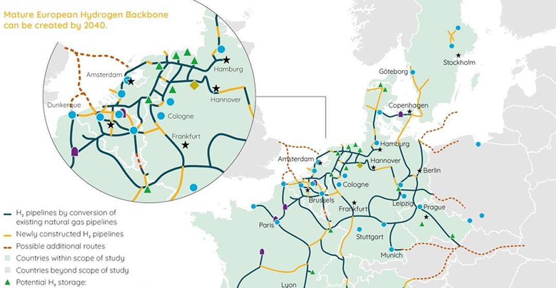 """Vision des """"European Hydrogen Backbone"""" wächst auf 40.000 Kilometer"""