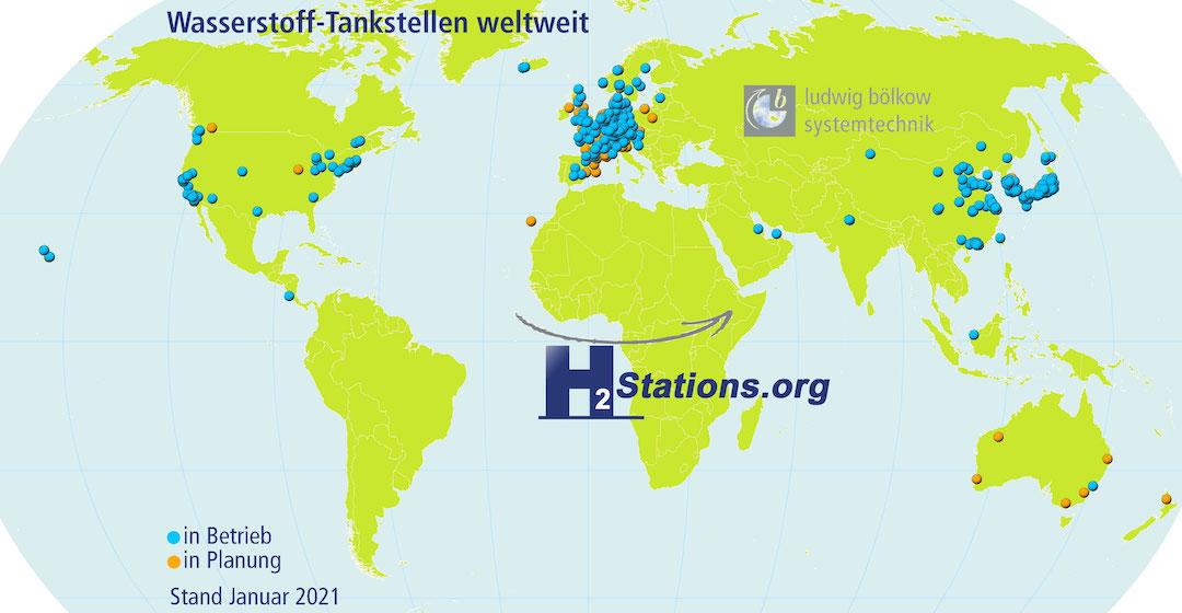 2020 wurden in Deutschland 14 Wasserstofftankstellen neu eröffnet